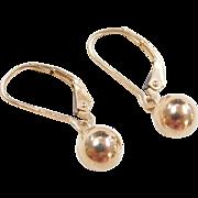 Vintage 14k Gold Ball Drop Earrings ~ Lever Backs