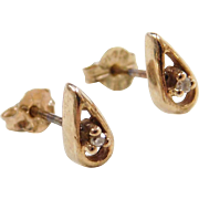 Vintage 14k Gold Diamond Teardrop Stud Earrings