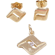 Vintage 14k Gold Diamond Pendant and Stud Earrings Set