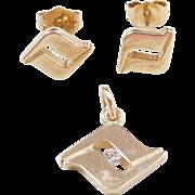 Vintage 14k Gold Diamond Pendant and Stud Earrings Set