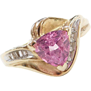 Vintage 10k Gold Pink Sapphire and Diamond Two-Tone Ring