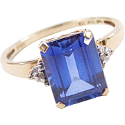 Vintage 10k Gold Created Sapphire and Diamond Two-Tone Ring