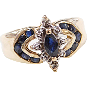 Vintage 10k Gold Two-Tone Sapphire and Diamond Ring