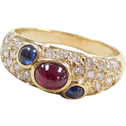 Vintage 14k Gold Sapphire, Ruby and Diamond Ring