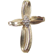 Vintage 14k Gold Diamond Cross Pendant