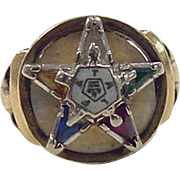Vintage 14k Gold Colorful Masonic Eastern Star Ring