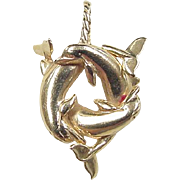 Vintage 14k Gold Dolphin Pendant