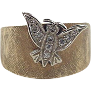 Vintage 14k Gold Two-Tone Wide Diamond Butterfly Ring