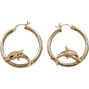 Vintage 14k Gold Dolphin Hoop Earrings