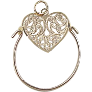 Vintage 14k Gold Filigree Heart Charm Holder Pendant
