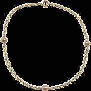 """Vintage 14k Gold Rope Beaded Bracelet ~ 7 1/4"""""""
