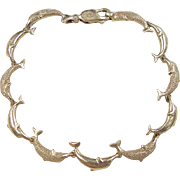 "Vintage 14k Gold Dolphin Bracelet ~ 7 1/4"""