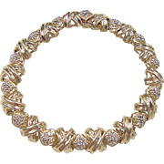 "Vintage 14k Gold .63 ctw Diamond Bracelet ~ 7 1/8"""