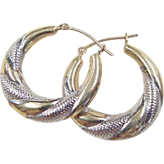 Vintage 10k Gold Two-Tone Hoop Earrings