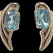 Vintage 14k Gold Blue Topaz Stud Earrings