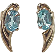 Vintage 14k Gold Blue Topaz Stud Earrings