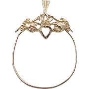 Vintage 14k Gold Claddagh Charm Holder Pendant