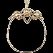 Vintage 14k Gold Claddagh Charm Holder Pendant