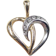 Vintage 14k Gold Two-Tone Diamond Heart Pendant