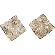 Vintage 14k Gold Square Filigree Earring Jackets