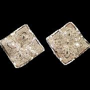 Vintage 14k Gold Square Filigree Earring Jackets