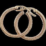 Vintage 14k Gold Twisted Hoop Earrings