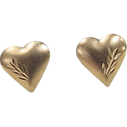 Vintage 14k Gold Heart Stud Earrings