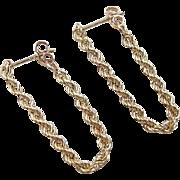 Vintage 14k Gold Rope Hoop Earrings