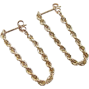 Vintage 14k Gold Rope Hoop Earrings