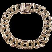 """Vintage 14k Gold Wide Triple Link Charm Bracelet ~ 7 1/4"""""""