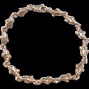 "Vintage 14k Gold Dolphin Bracelet ~ 7 1/2"""