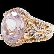 Vintage 14k Gold Two-Tone Pink Quartz and Diamond Ring