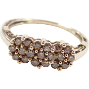 Vintage 10k Gold .48 ctw Chocolate Diamond Cluster Ring