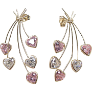 Vintage 14k Gold Pink Ice and Faux Diamond Heart Earrings