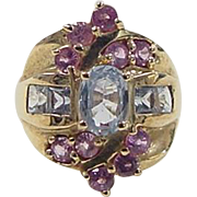 Vintage 10k Gold Blue and Pink Sapphire Ring