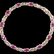 "Vintage 14k Gold Two-Tone Ruby and Diamond Bracelet ~ 7"""