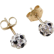 Vintage 10k Gold Black and White Rhinestone Ball Stud Earrings