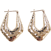 Vintage 14k Gold Hammered Hoop Earrings