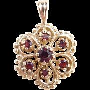 Vintage 10k Gold Garnet Pendant