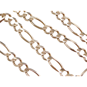 "Vintage 10k Gold Men's Figaro Link Chain ~ 20 1/4"" ~ 43.2 Grams"