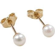 Vintage 14k Gold 3mm Cultured Pearl Stud Earrings