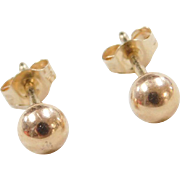Vintage 14k Gold Ball Stud Earrings