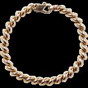 """Vintage 10k Gold Macaroni Link / San Marco Bracelet 7"""""""
