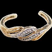 Vintage 10k Gold Two-Tone Diamond Toe Ring