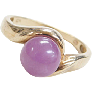 Vintage 10k Gold Amethyst Bead Ring