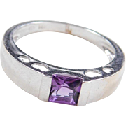 Vintage 14k White Gold Amethyst Ring with Hearts