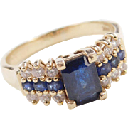 Vintage 14k Gold Sapphire and Diamond Ring