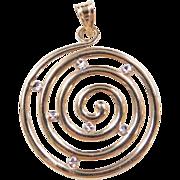 Vintage 14k Gold Two-Tone Swirl Pendant