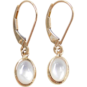 Vintage 14k Gold Mother of Pearl Drop Earrings