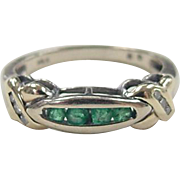 Vintage 14k Gold Two-Tone Emerald and Diamond Ring